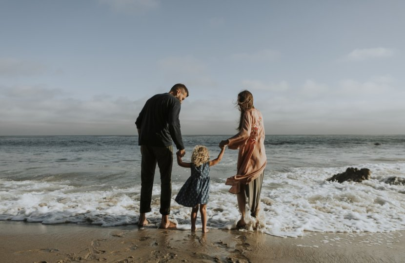 family-at-beach