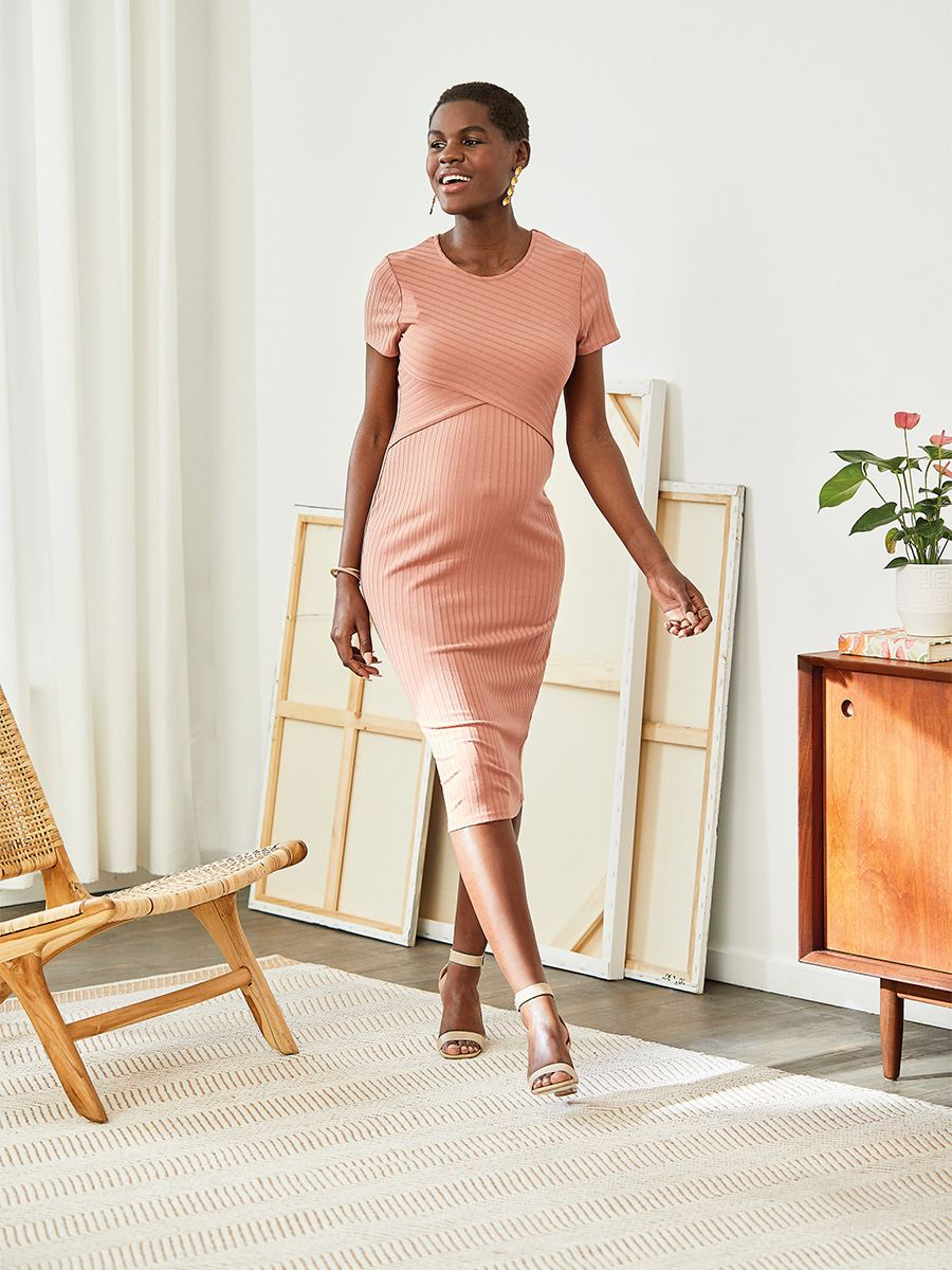 maternity-dress-coral-summer-pregnancy-dress