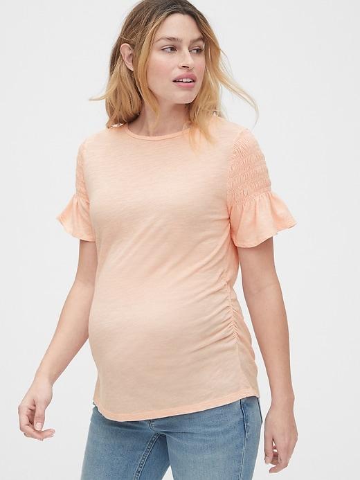 maternity-t-shirt-summer-ruffle-sleeves